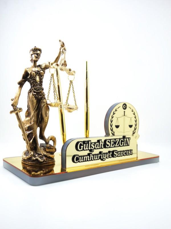 Adalet Heykeli Akrilik HSK Logolu Masa İsimliği