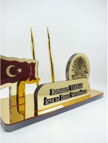 Osmanlı Devlet Armalı Türk Bayraklı Masa İsimliği
