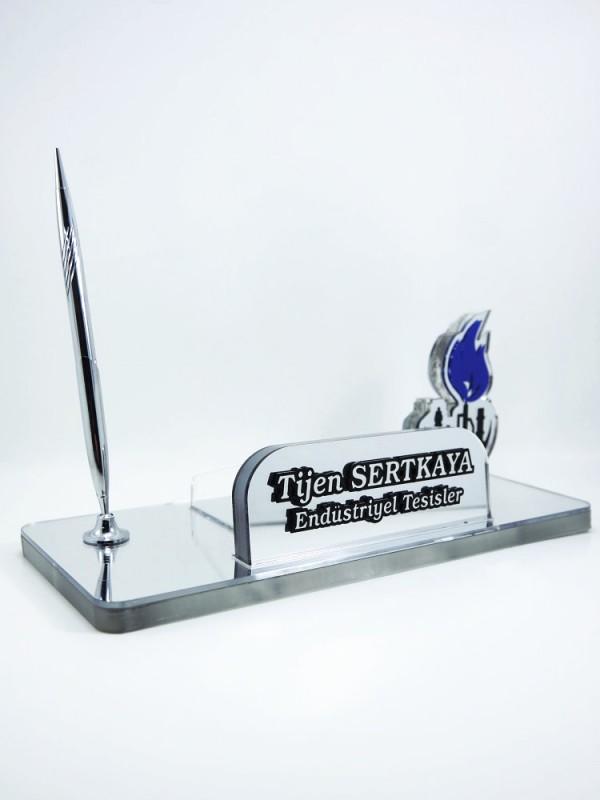 Gümüş Logolu Akrilik Masa İsimliği