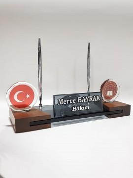 HSK Logolu Türk Bayraklı Kristal Masa İsimlik