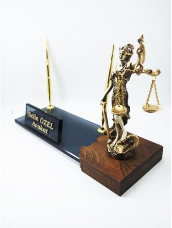Vip Adalet Heykelli Kristal Masa İsimliği