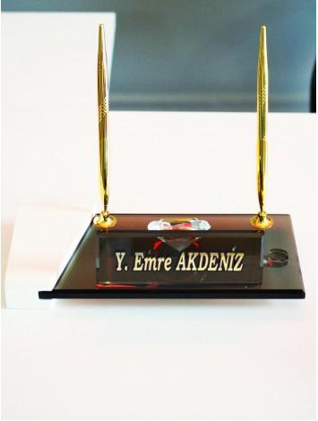Ahşap Bronz Renkli Camlı Masa İsimliği
