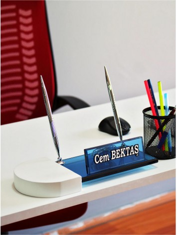 Mavi Kristal Masa İsimliği & Beyaz Oval Ahşap